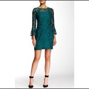 Sandra Darren green lace dress w/ bell sleeve